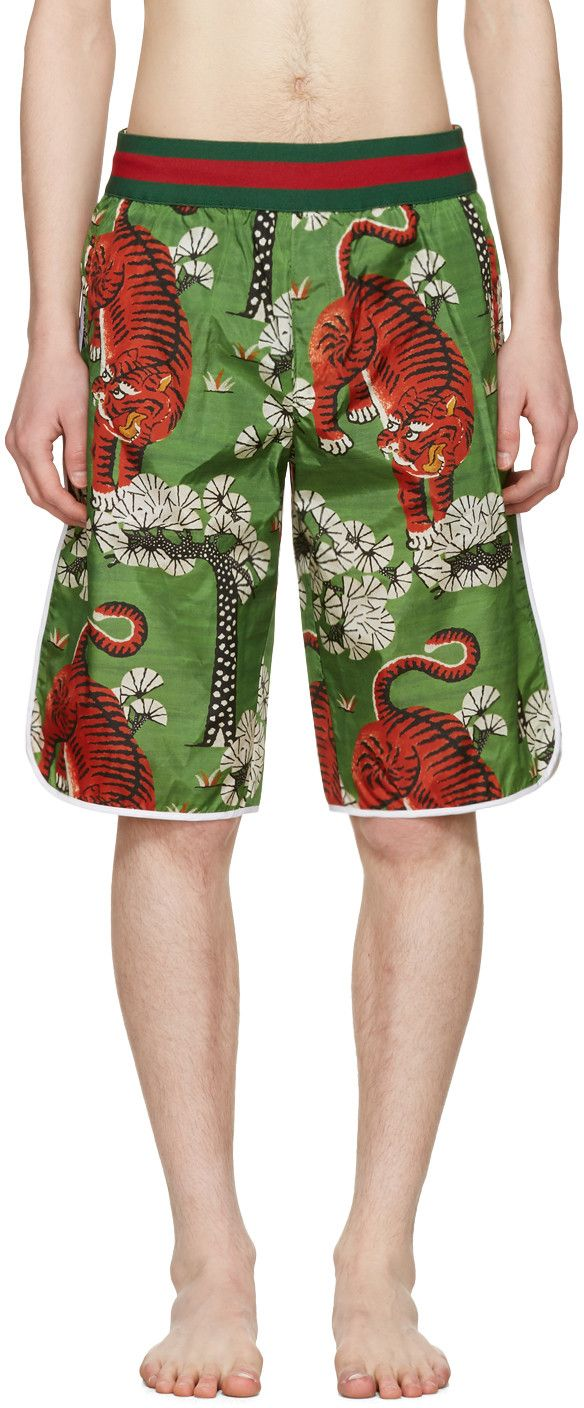 2f547dbea6 GUCCI Green Bengal Swim Shorts. #gucci #cloth #shorts | Gucci Men ...