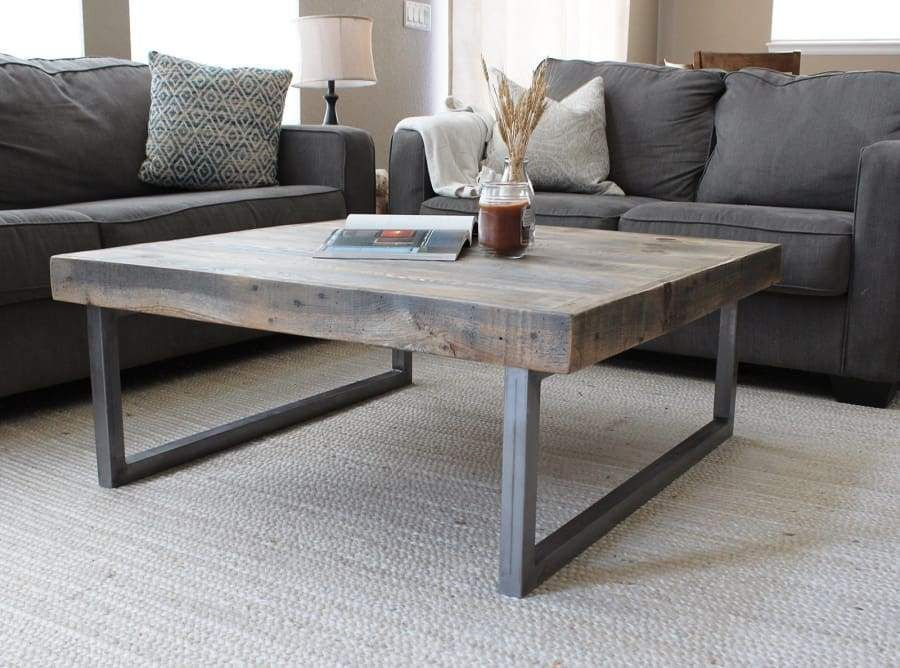 Reclaimed Wood And Metal Square Coffee Table Tube Steel Legs Table Basse Industrielle Table Basse Table Basse Carree