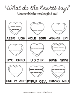 Valentineu0027s Day Word Scramble For Kids   Free Printable Party Games And  Activities   Word Puzzles