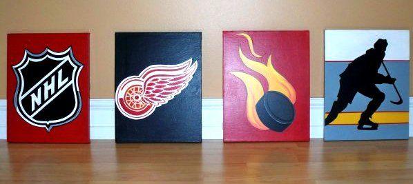 16 X 20 Set Of 4 Acrylic On Canvas Hockey Paintings Sports Wall Art Canvas Painting Canvas Art