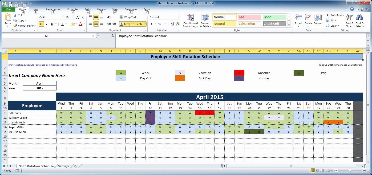 Free Excel Work Schedule Template from i.pinimg.com