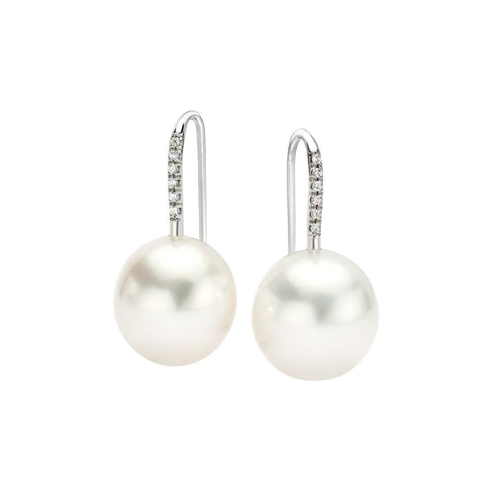 Ivanka Trump South Sea Pearl Drop Earrings With Diamond