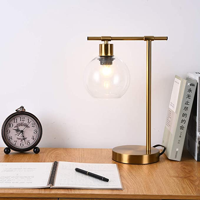 Popity Home Industrial Glass Shade Metal Office Reading Gold Desk Lamp Vintage Bedside Table Lamps For Living Room In 2020 Gold Desk Lamps Desk Lamp Lamps Living Room #vintage #living #room #lamps