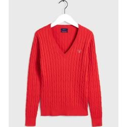 Photo of Gant Cable Knit Pullover mit V-Ausschnitt (rot) Gant