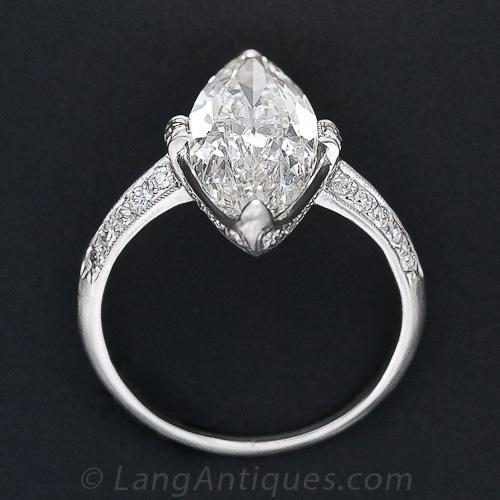 Cartier 3 98 Carat Marquise Art Deco Diamond Ring 10 1 5631 Lang Antiques Art Deco Diamond Rings Marquise Diamond Ring Art Deco Diamond