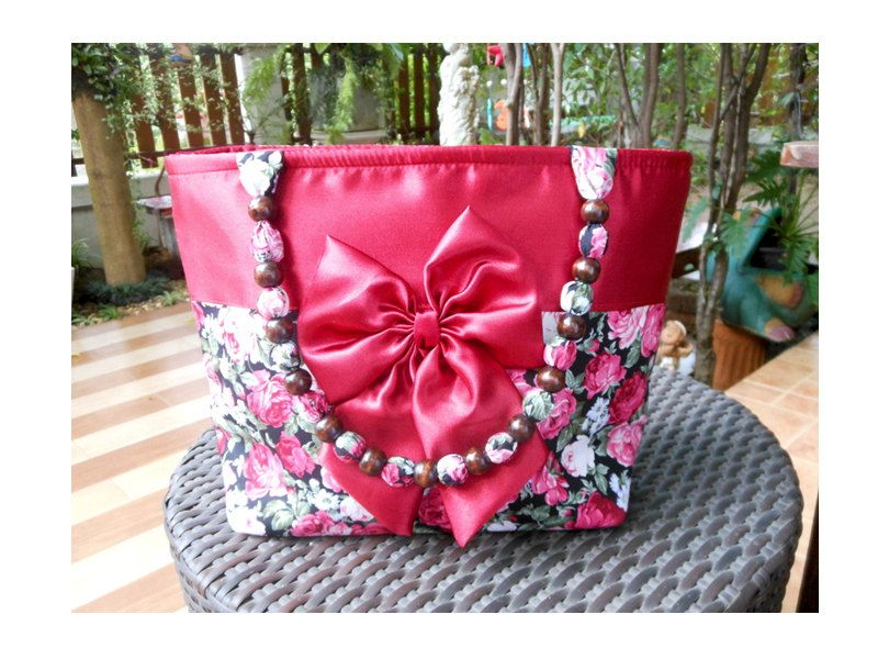 Gorgeous Red Cherry Zip Closure Shoulder Bag With Red And White Rose Flowers & Bow Bead Double HandlesBridal BagWedding BagGifts For Her handmade bag tote zip closure tote bag handbag bow bag wedding bag bridal bag gifts for her zip closure bag diaper bag personalized gifts shoulder bag 22.99 USD #goriani