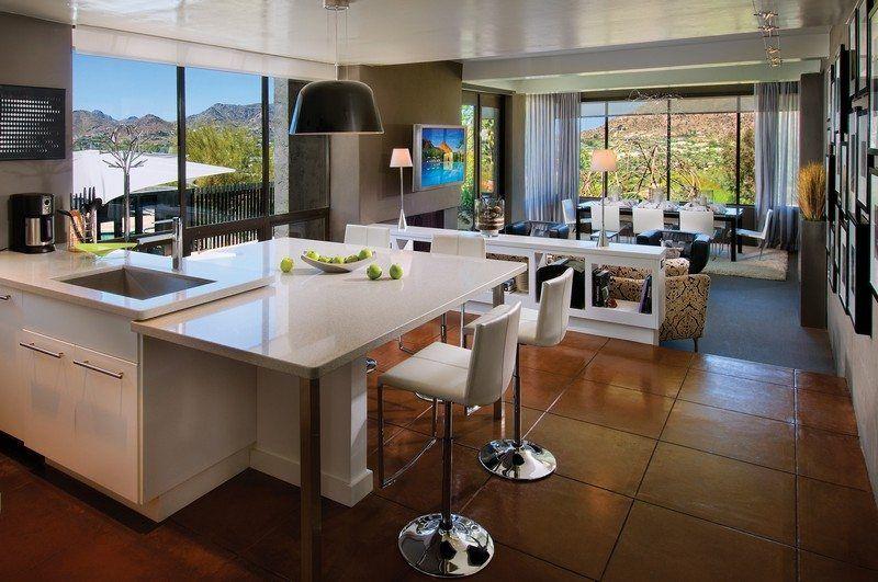 Cuisine ouverte sur salon en 55 id es 39 39 open space for Model ilot central