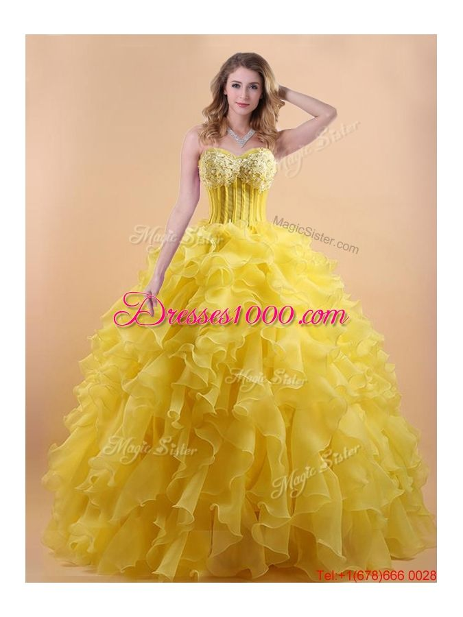 4a5bacbe403 Simple Applique and Ruffled Yellow Quinceanera Gown in Organza ...