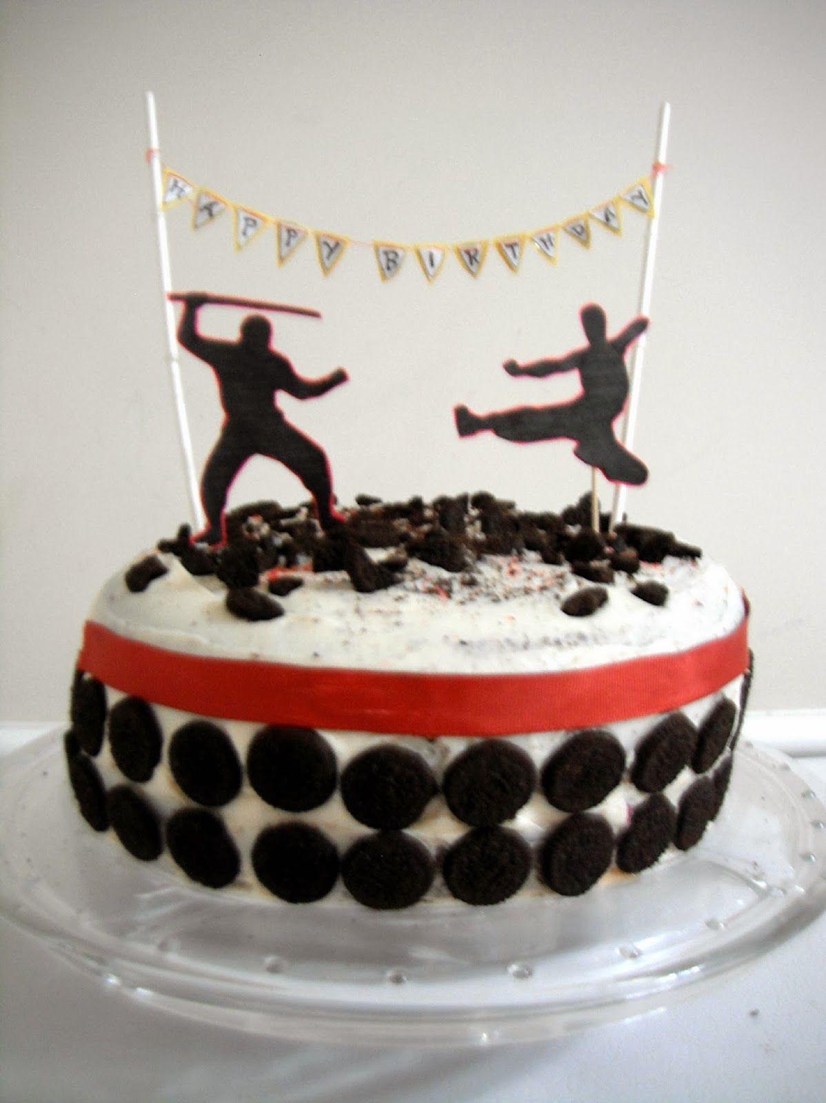 Terrific Ninja Theme Birthday Cake With Images Ninja Birthday Cake Funny Birthday Cards Online Hendilapandamsfinfo