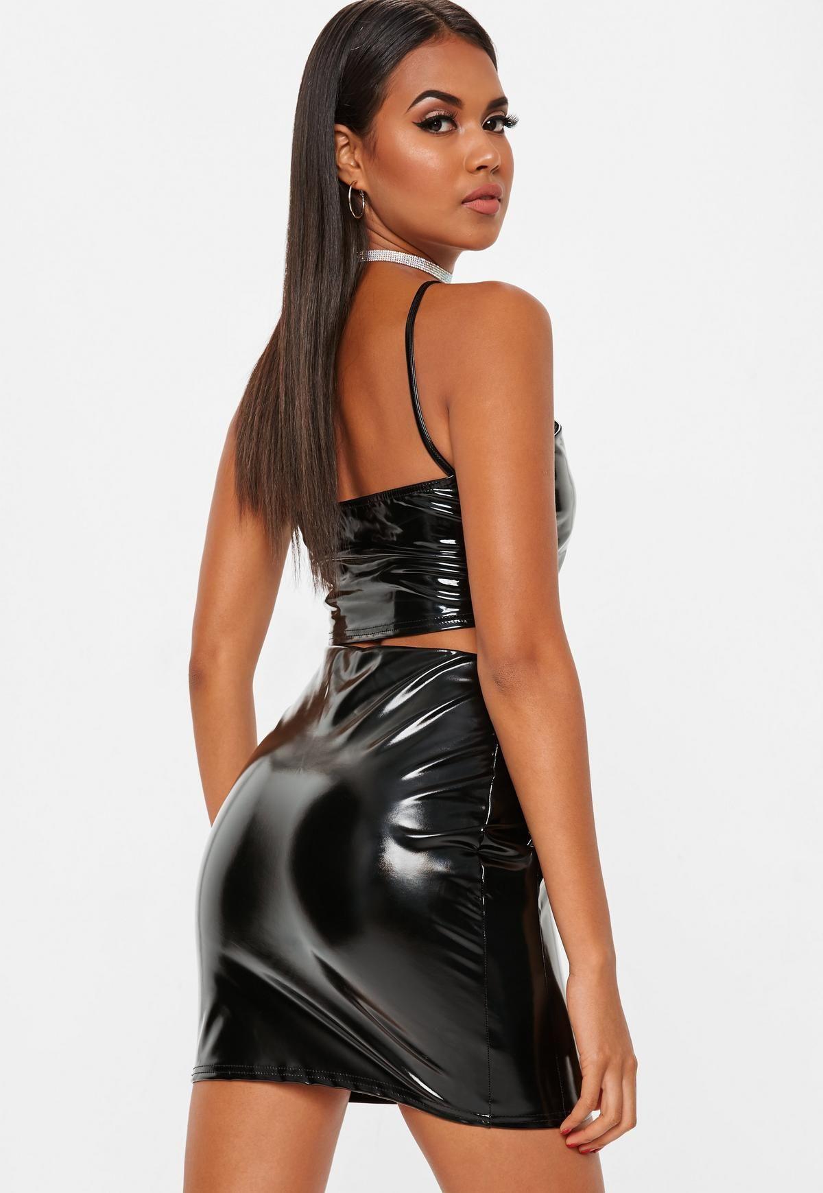 4ad417c5419 Black Vinyl Bodycon Mini Skirt
