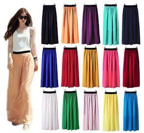 Women Double Layer Chiffon Long Maxi Elastic Waist Skirt