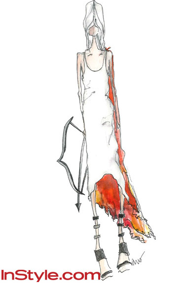 12 designers sketch how they envision Katniss' girl on fire look. Tibi has interesting take, great sketching style