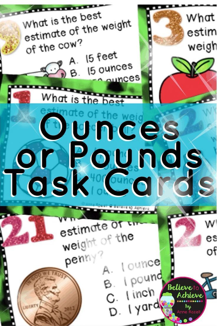 Measurement - Ounces and Pounds (24 Task cards) | Recording sheets ...