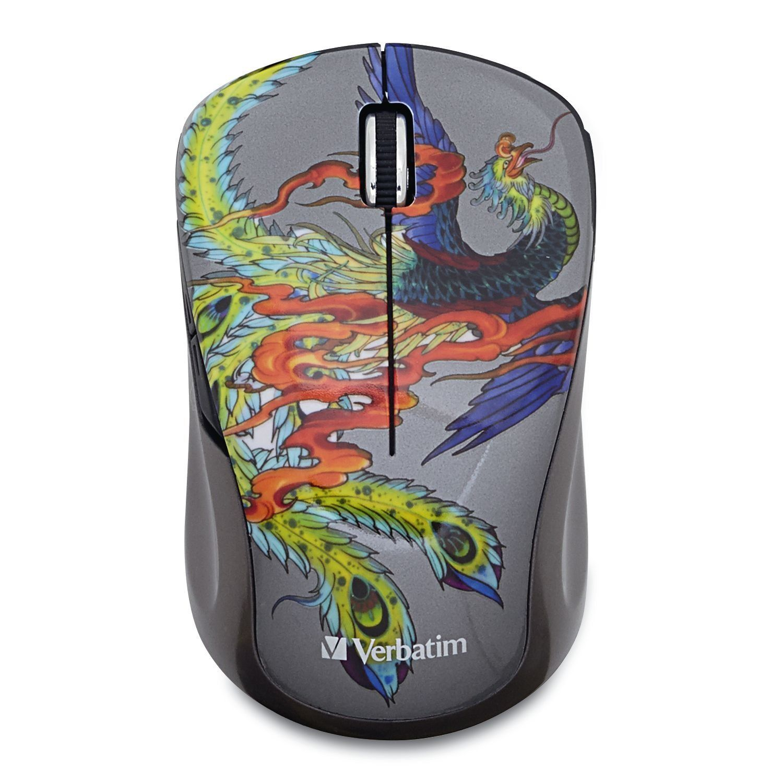 Verbatim Wireless Notebook Multi-Trac Blue LED Mouse Tattoo Series Dragon 98612