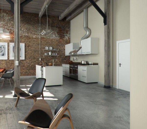 Brick Wall Studio Apartment Inspiration Concrete Interiors Concrete Kitchen Floor Floor Design