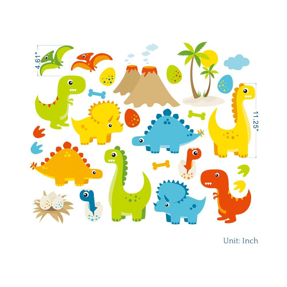 Homeevolution Large Cartoon Dinosaurs Peel And Stick Wall Decals