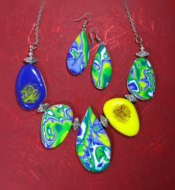 Polymer Clay Contemporary Style Necklace and Earrings by NataPi, $31.00