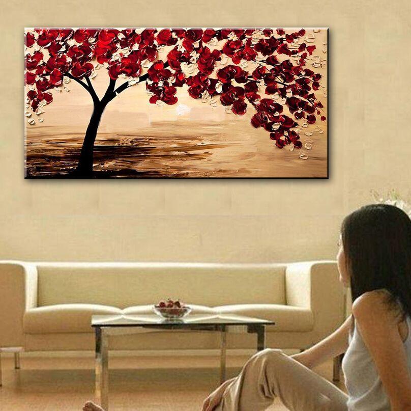 New handmade Modern Canvas on Oil Painting Palette knife Tree 3D ...