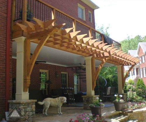 Hip Roof Pergola Over Garage Doors From Atlanta Decking: An Open Back Porch Enjoys Additional Shade With A Dramatic