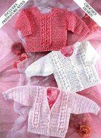 3989S - baby crochet jumper and cardigans - vintage crochet pattern