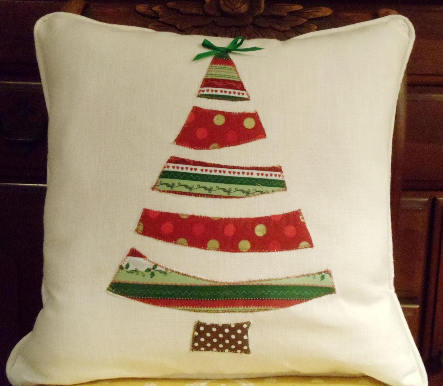Christmas decor, whimsical Christmas tree, holiday pillow, 16x16 inch, pillow with tree, red and green pillow, fun home decorations