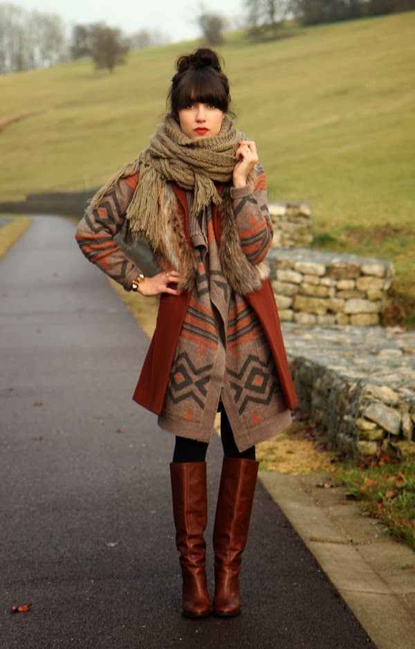 Winter Style With Cardigan Aztec