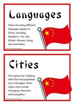 China Fact Cards China Facts China For Kids World Thinking Day