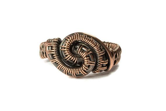 Copper Wire Ring, Handmade Statement Ring, Size 10, Copper Wire ...
