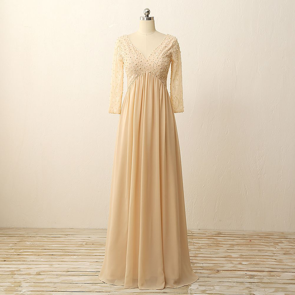 Long sleeves chiffon with lace pearls on v neck floor length zipper
