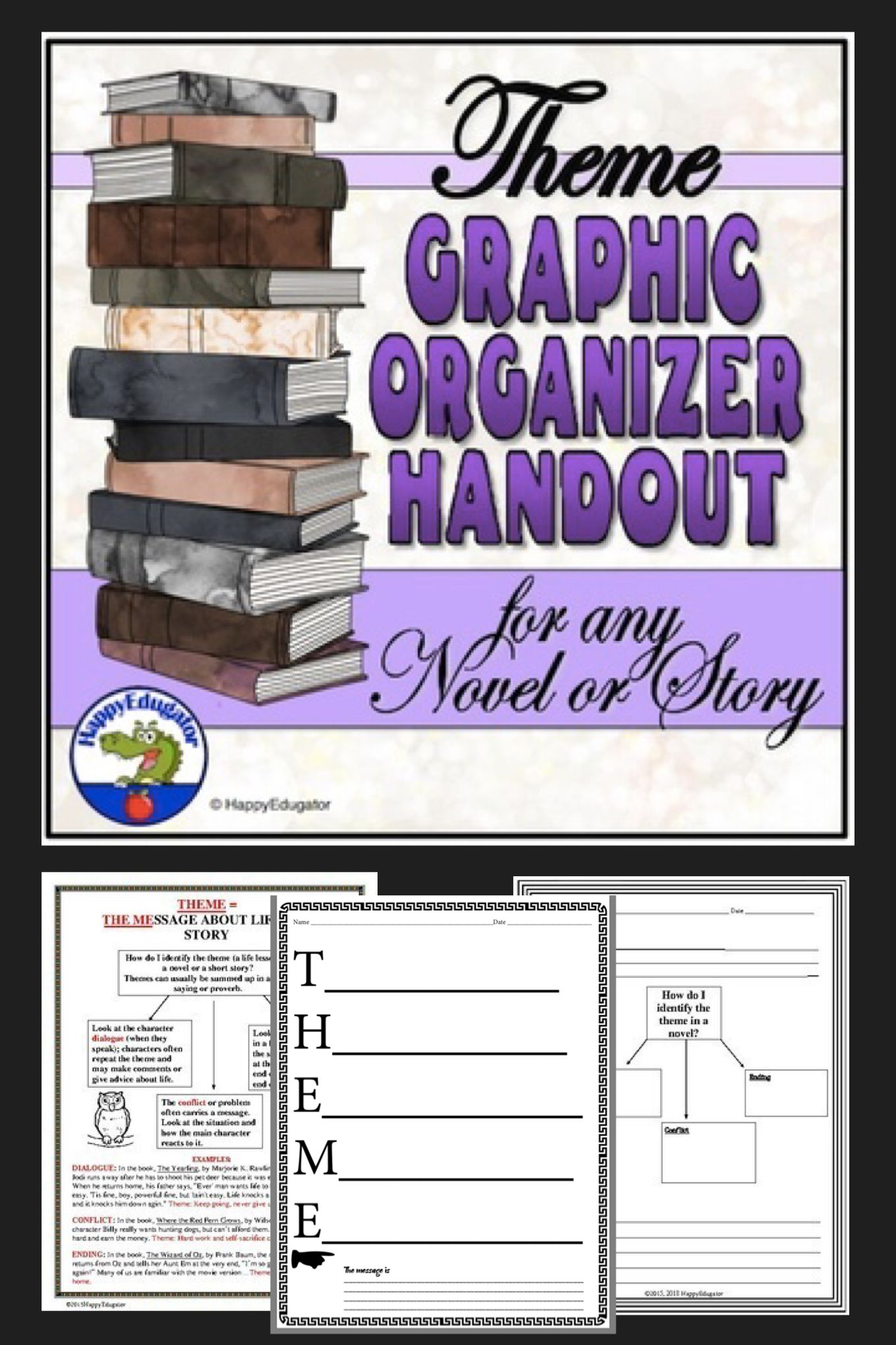 Theme Graphic Organizer Handout And Worksheets For Any