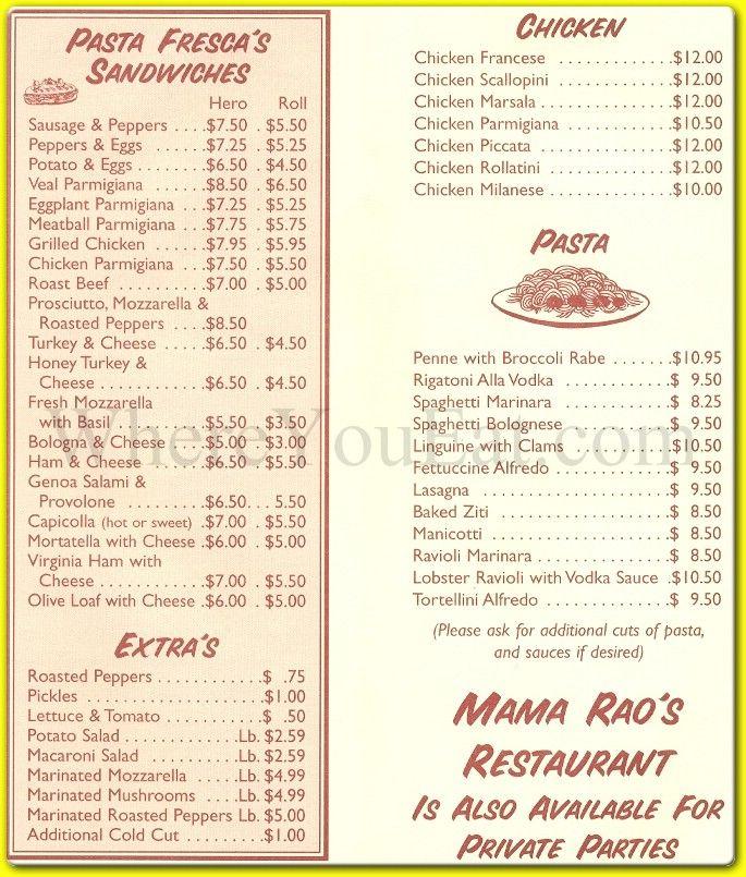 Raou0027s Menu Prices Pasta Fresca and mama Raos Italian Pizzeria - italian menu