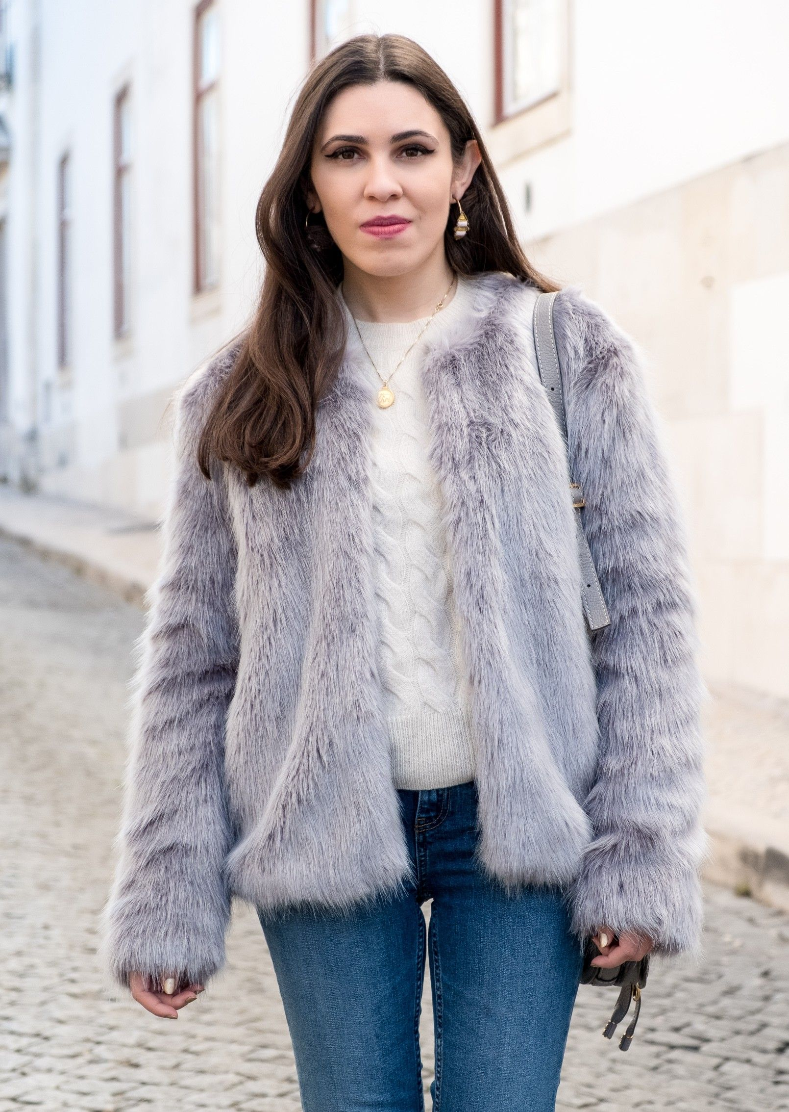 ae31ef8f nude cozy eights cashmere mango knit denim zara jeans white pearls faux fur  light blue bershka coat cinco gold world map necklace 2909 EN photo