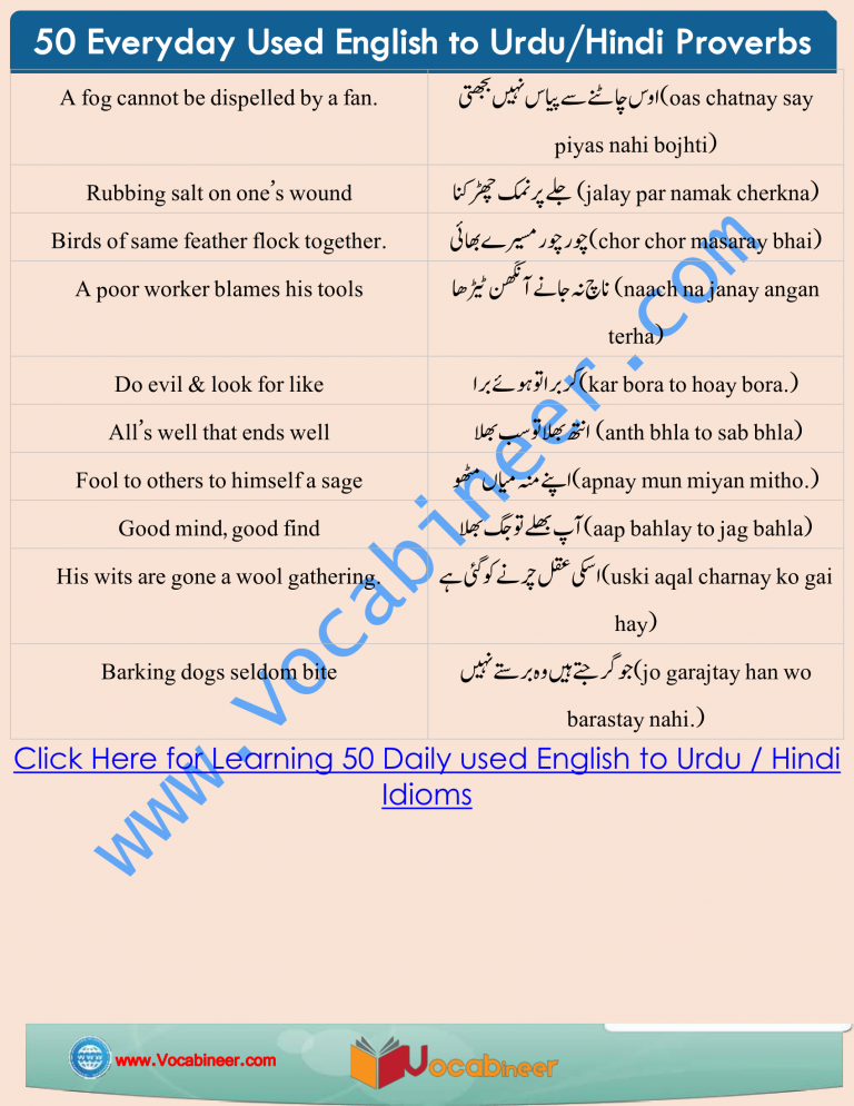 English Proverbs With Hindi And Urdu Translation Pdf Proverbs English Learn English English Vocabulary