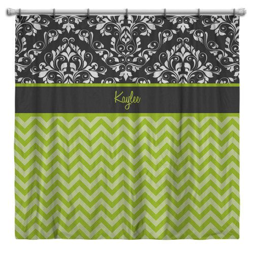 Chevron Shower Curtain Lime Green With Gray Damask Personalize It With Name Or Initia Personalized Shower Curtain Chevron Shower Curtain Green Bathroom Decor
