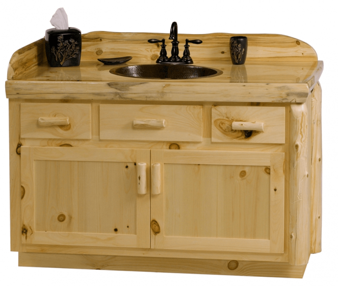 Unfinished Pine Bathroom Vanity With