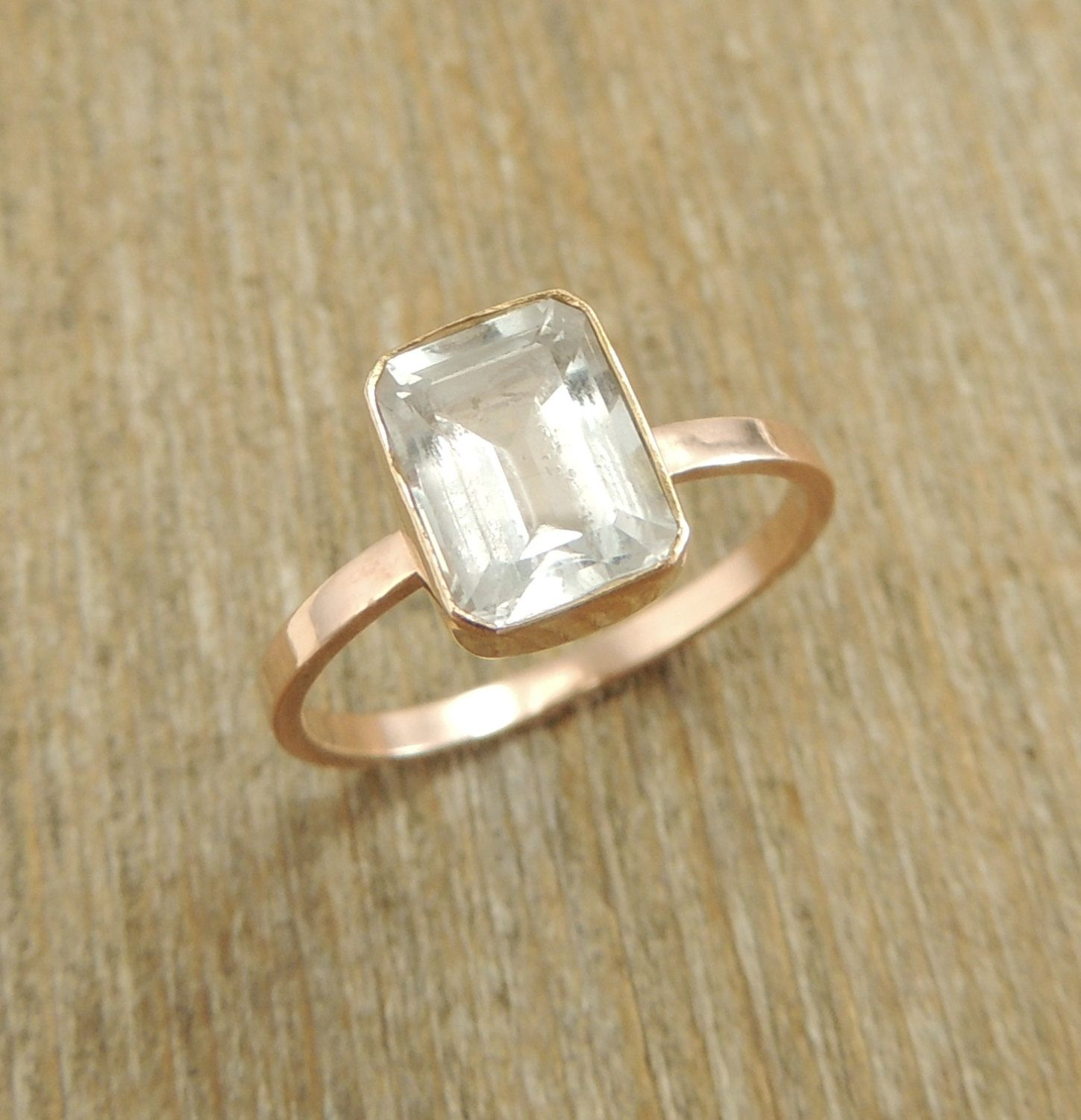 Emerald Cut White Topaz 14k Rose Gold Ring, Engagment Ring, Wedding Ring, Diamond Alternative, Rose Gold Engagement, Eco Friendly. $395.00, via Etsy.