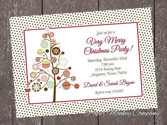Holiday Christmas Invitation with FREE by PaperMonkeyCompany - free xmas invitations