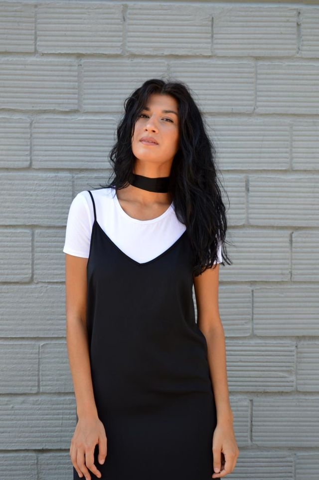 e3b15f674fbd Wear a black maxi cami dress over a plain white t-shirt and a skinny black  scarf around your neck for a sleek elegant look. Finish off your look with  ...