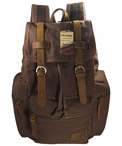 KAXIDY Multifunctional Casual Canvas Backpack Schoolbag Traveling Bags Camping Bag Student School Backpack Rucksack Daypack (Coffee) - http://handbags.kindle-free-books.com/kaxidy-multifunctional-casual-canvas-backpack-schoolbag-traveling-bags-camping-bag-student-school-backpack-rucksack-daypack-coffee/