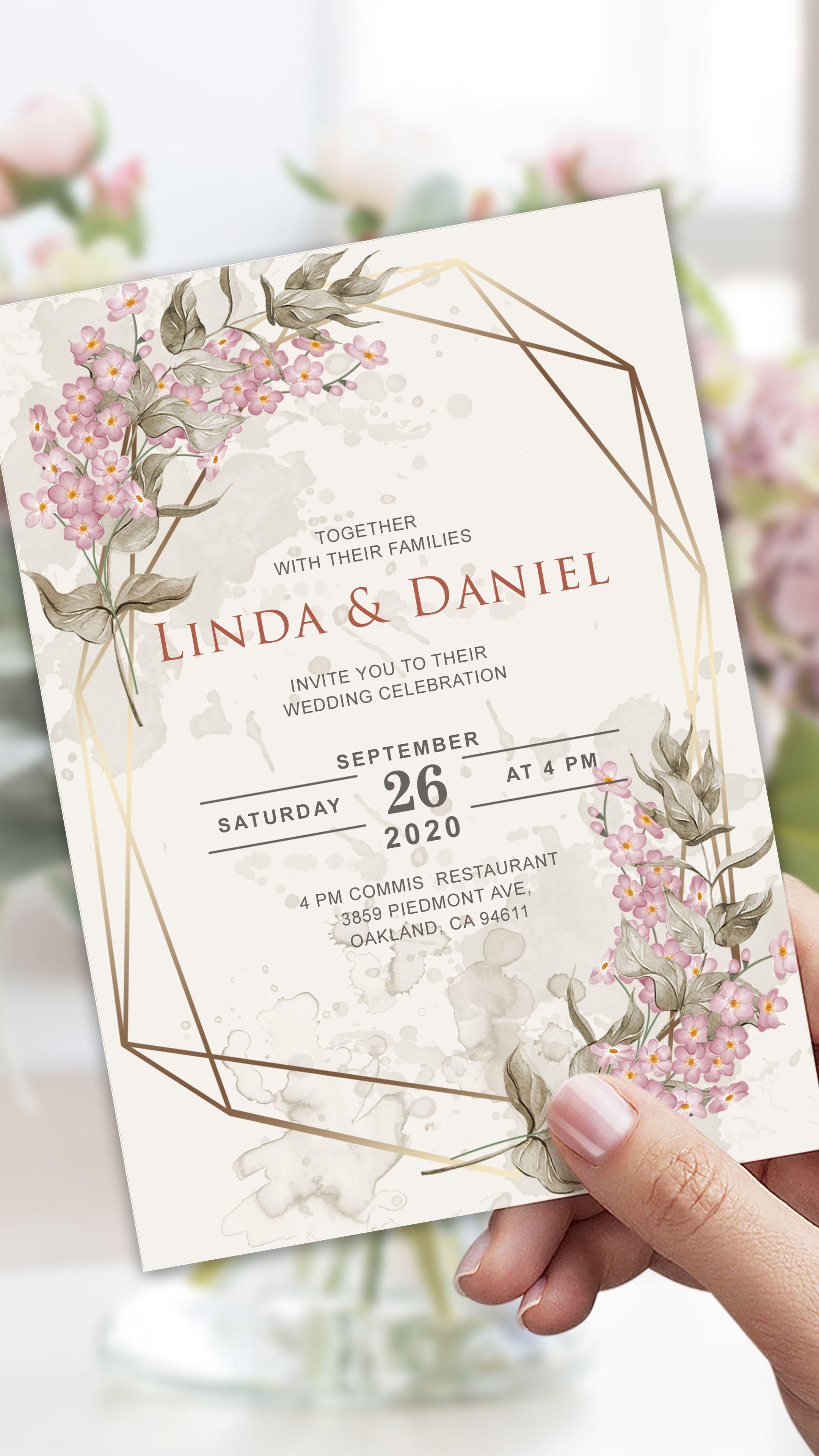 Wedding Invitation Template Botanical Wedding Invitation Floral Geometric We Wildflower Wedding Invitations Pink Wedding Invitations Wedding Invitations Boho