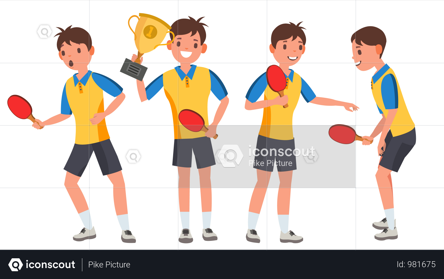 Table Tennis Young Man Player With Winning Gesture Illustration Table Tennis Tennis Players Female Tennis Team