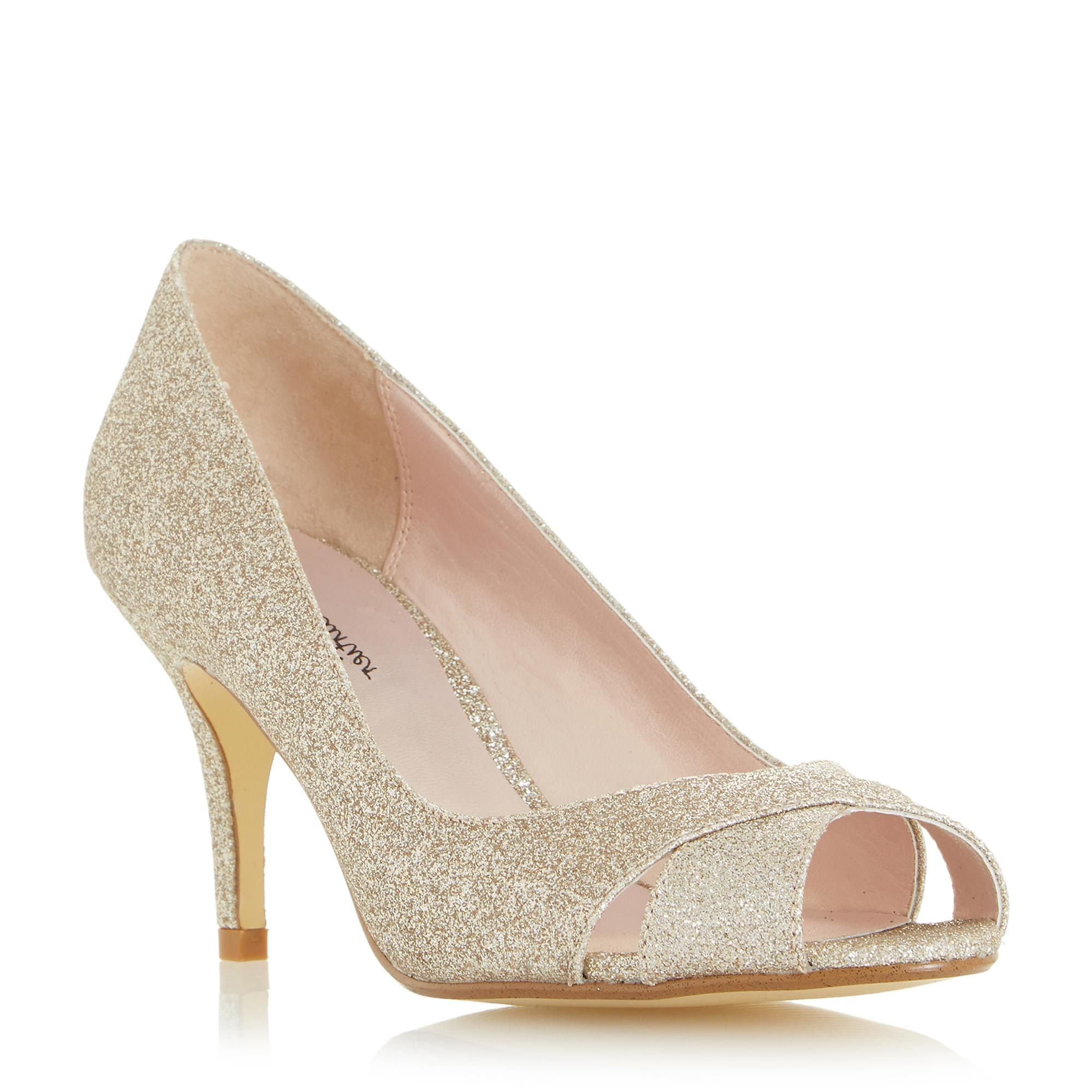 720cd68928 Roland Cartier Ladies DUBAI - Cross Over Front Peep Toe Court Shoe - gold | Dune  Shoes Online