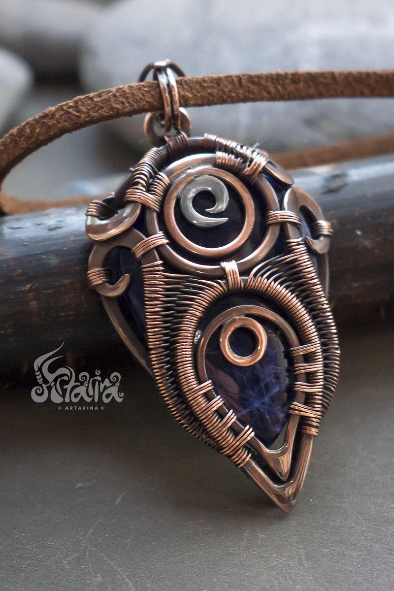 Blue Sodalite Pendant Copper Wirewrap Gemstone Pendant Gift Idea Sodalite Wire Wrapping Tree Of Life Jewelry