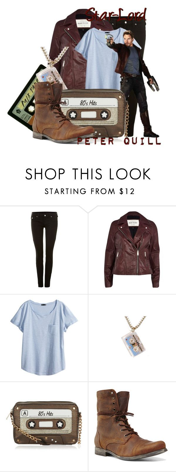 """""""Peter Quill aka Star-Lord from Guardians of the Galaxy"""" by infinity-starts-with-you ❤ liked on Polyvore featuring True Religion, INDIE HAIR, River Island, H&M, Monsoon and Steve Madden"""