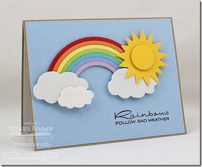 Rainbow, clouds, sun card - bjl