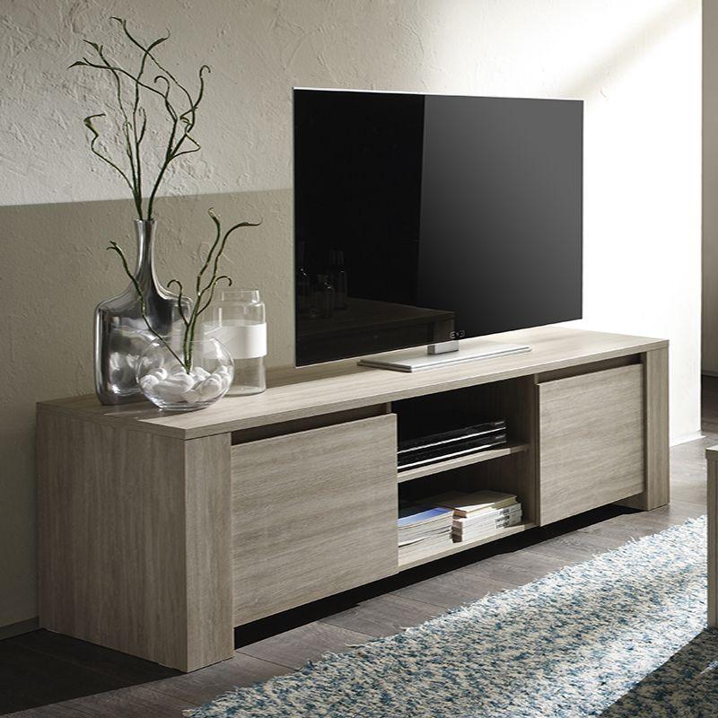 Meuble tv couleur bois gris contemporain calypso table for Meuble bois contemporain