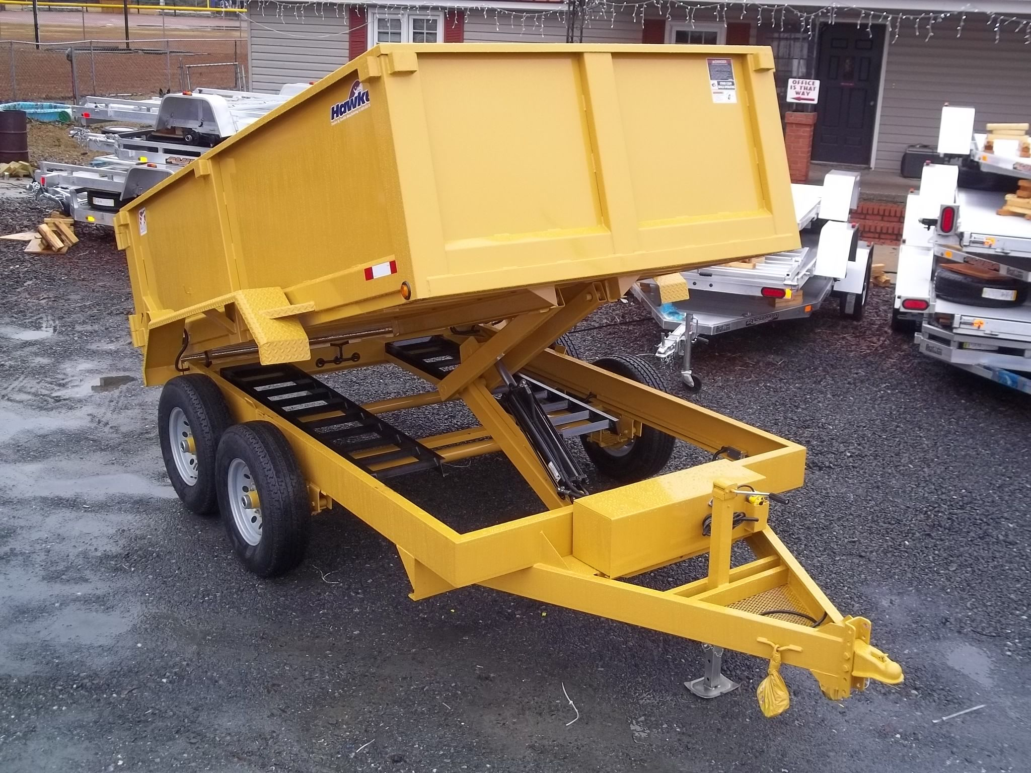 small resolution of 7 x 12 12k dump trailer with equipment ramps and 3ft sides