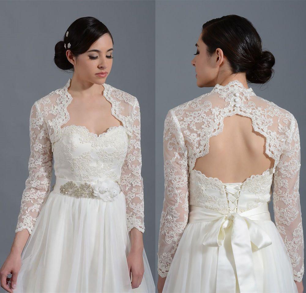 Wedding dress wrap  Long Sleeves Alecon Lace Bolero with Keyhole Back Bridal Wrap Jacket