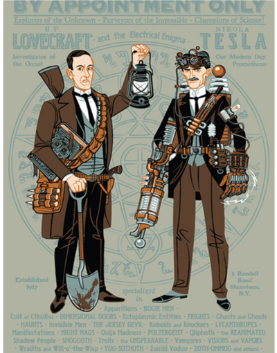 artsviewfinder:  H.P. Lovecraft and Nikola Tesla, paranormal investigators? Check out this hilarious steampunk illustration from the blog Drawn! Love steampunk? Want to make your own art? Check out The Steampunk Coloring and Activity Book!