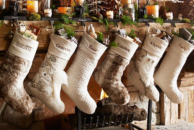 christmas stockings in same tones - Rustic Christmas Stockings
